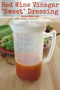 This sweet red wine vinegar dressing is like no other! It's sweet and tangy and makes salad greens shine! Check out our go to salad toppings that we pair with this DELICIOUS vinaigrette! Red Wine Vinegar Dressing Recipe, Vinegar Salad Dressing, Vinaigrette Dressing, Red Wine Vinegar Recipes, Taco Salad Recipes, Salad Dressing Recipes, Healthy Salad Recipes, Salad Toppings, Ham Salad