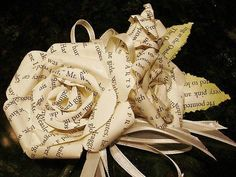 bridal party corsage made from vintage book page roses and buds Book Page Roses, Wedding Colors, Wedding Ideas, Wrist Corsage, Paper Roses, Crafts For Teens, Book Pages, Real Flowers, Rose Buds
