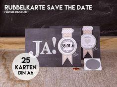 Eine tolle SAVE THE DATE Karte, wo das Datum von Euren Gästen frei gerubbelt werden kann. Und so funktioniert`s: Ihr tragt selber Euer persönliches Trauungsdatum in das runde Feld ein. Darüber...