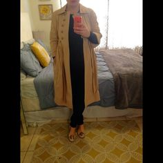 Diane Von Furstenburg trench coat DVF trench coat with 3/4 sleeves, empire waist, leather button closures and leather tie around waist. Silk lining with blue and white striped piping. Very classic and lady like. Great condition. Like new. Open to offers. Diane von Furstenberg Jackets & Coats Trench Coats