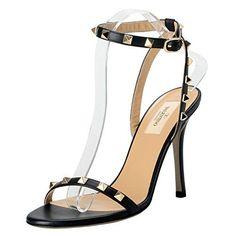 165c92a03d14 Valentino Garavani Women s Rockstud Leather Black High Heels Open Toe Shoes  US 10 IT 41