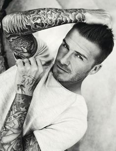 david beckham elle uk july 2012 - The David Beckham Elle UK July 2012 appearance is scandalously seductive and playfully provocative. Beckham sports a sly smile and a come-hither ga. David Beckham Tattoos, Tatuajes David Beckham, Band Tattoos, Love Tattoos, Guys With Tattoos, Beautiful Tattoos, Lady Bug Tattoo, I Tattoo, Celebrities