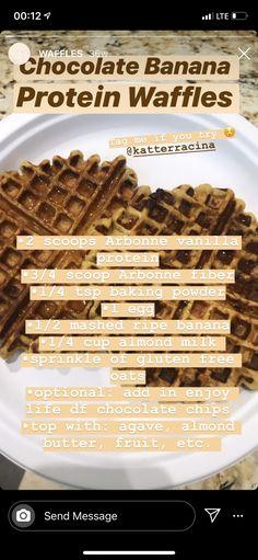 Protein Waffles, Protein Foods, Vanilla Protein Recipes, Powdered Eggs, Gluten Free Oats, Almond Milk, Sprinkles, Banana, Chocolate