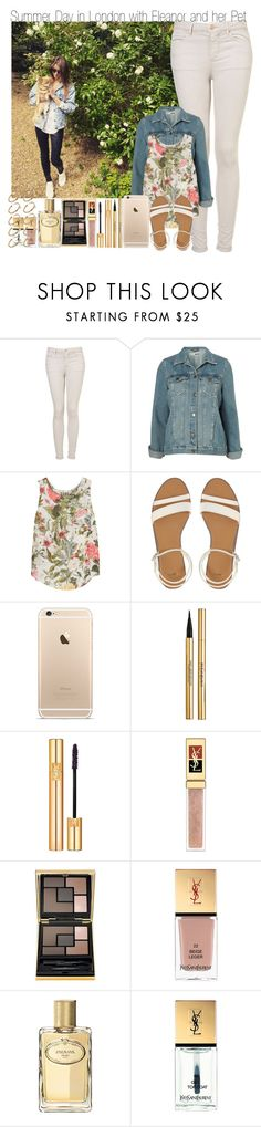 """""""Summer Day Out in London with Eleanor and her Pet"""" by elise-22 ❤ liked on Polyvore featuring Topshop, Haute Hippie, ASOS, Yves Saint Laurent and Prada"""