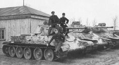 thedevilsguard: Captured Soviet T34s with german insignia #worldwar2 #tanks