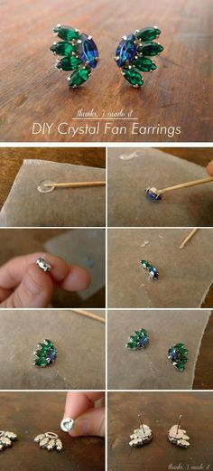 I Made It: DIY Crystal Fan Earrings. Glue them to the wax paper and peel off during the drying process. is the glue strong enough to hold up without soldier? Wire Jewelry, Jewelry Crafts, Beaded Jewelry, Handmade Jewelry, Jewelry Ideas, Jewelry Design, Diy Crystals, Bijoux Diy, Beaded Earrings