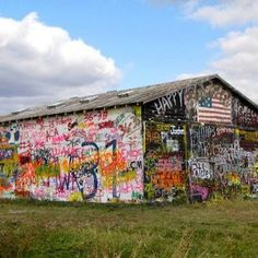 """The old """"graffiti barn"""" outside of Letts, IA --- was burnt down by arson a few years back..."""