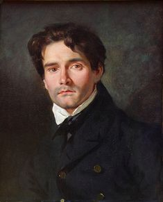 This is a portrait of French Romantic painter Leon Riesener, by his cousin, French Romantic painter Eugene Delacroix