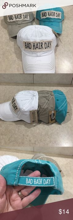 💙💙SUPER CUTE & FUN HAT💙💙 This cap is the perfect year round fashion accessory......especially on those bad hair days!  100% cotton distressed cap with frayed edge patch and black embroidered saying.  Velcro closure.  Adjustable.  I only have the 1-white and one teal hat left.  They are priced at $14 each. KBethos Accessories Hats
