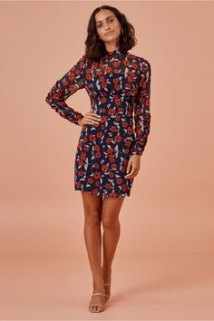 Finders Keepers Maya Long Sleeve Mesh Minidress In Navy Floral Dress Outfits, Fashion Outfits, Dresses, Georgette Fabric, Finders Keepers, Long Sleeve Mini Dress, Fitted Bodice, World Of Fashion, New Dress