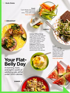 Women's health - flat belly day. Ham and kale muffin, tofu and snow pea salad, chicken farrotto
