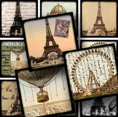 French digital collage sheet with 30 squares. Printables by piddix 638.