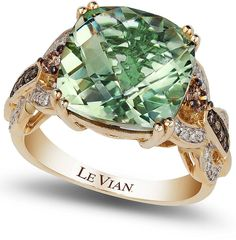 Trendy Diamond Rings : Le Vian Green Amethyst and Diamond. - Buy Me Diamond Gold Rings Jewelry, I Love Jewelry, Jewelry Box, Jewelery, Vintage Jewelry, Jewelry Accessories, Fine Jewelry, Jewelry Design, Unique Jewelry