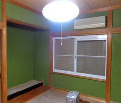 和室壁を「四国化成・ジュラックスC」で塗りかえ★ きれいな薄いウグイス色になります。(※まだ完全に乾いてないので、色が濃い)