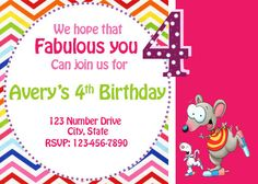 Toopy and Binoo Birthday Invitation 4th Birthday, Birthday Ideas, Custom Items, Birthday Invitations, Birthdays, Banner, Kids, Rivers, Etsy
