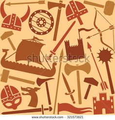 viking icons seamless pattern - stock vector