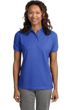 Port Authority Ladies Pique Knit Sport Shirt, 4XL, Faded Blue
