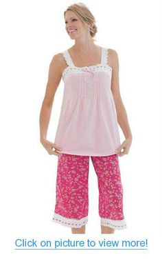 Pajamas set in soft cotton with scalloped eyelet lace and ribbon trim by Dreams & Co.®, Plus Size Pajamas - Sets from Woman Within Plus Size Sleepwear, Plus Size Pajamas, Funny Fashion, Fashion Wear, Pajamas Women, Pajama Set, Pajama Party, Eyelet Lace, Plus Size Outfits