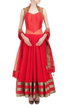 Red sheer back embroidered anarkali set is available at www.ladyselection.com