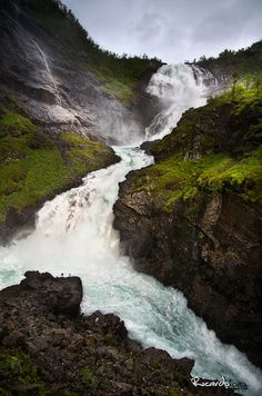 Kjosfossen waterfall on the Flam Railway in Norway. When I visit Germany after school, I plan to take the Flam Railway to Bodo, Norway in hopes of catching some Auroras Borealis. The best way to travel europe is by rail...hands down. Check out Eurail.com if your headed there.