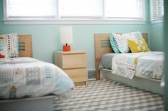 Modern Aqua Child's Room - love this aqua paint with grey and bright colors