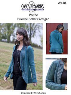 Brioche Collar Cardigan Cascade Pacific - W418