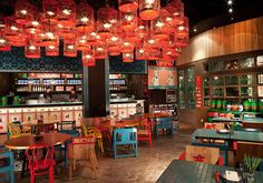 Uncluttered Asian Restaurant Interior Design in Modern Style: Chic Colorful Wooden Furniture Asian Restaurant Interior Design With Red Trans...