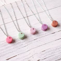 Mini Brown Macaroon Pendant Handmade Necklace by ElfiHandmade