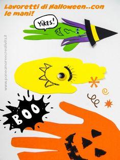 Lavoretti di Halloween con le mani dei bambini