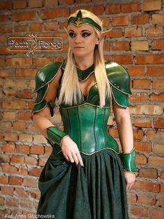 This is my new female armor, i do this with lether. If you want to buy https://www.etsy.com/listing/216937871/women-armor-elf-green-with-corset-only?