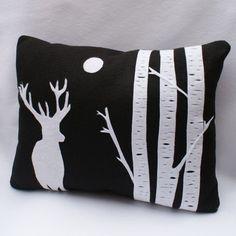Deer In The Moonlight  Eco Felt Cushion by sarahsmilecreations from etsy.com