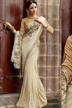 White Crepe and Net Saree, Design No. DMV7047,  Price - $272.28, Dress Type:	Saree, Fabric:	Crepe and Net, Colour:	White, Embellishments:	Embroidered pallu, For More Details Visit Here @ http://www.andaazfashion.us/white-crepe-and-net-saree-dmv7047.html
