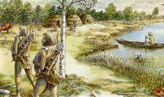 Jagers komen terug van de jacht.