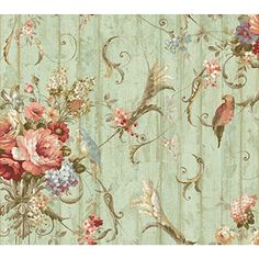 York Wallcoverings HA1326 Blue Book Parrots with Floral Bouquets Wallpaper, Blue *** Click on the image for additional details. (This is an affiliate link) #PaintingSuppliesWallTreatments