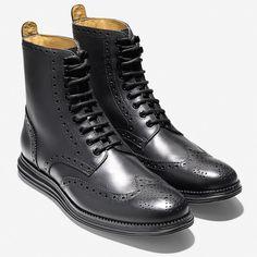 Cole Haan LunarGrand Wingtip Boots - Black - FreshnessMag.com