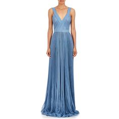 J. Mendel Pleated Chiffon Gown ($4,900) ❤ liked on Polyvore featuring dresses, gowns, blue, chiffon high low dress, asymmetrical dress, chiffon evening dress, blue ball gown and blue high low dress