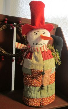 Primitive SNOWMAN on Rusty Spring handmade with ANTIQUE Log Cabin Quilt Coat ~ Folk Art Christmas Winter Decoration