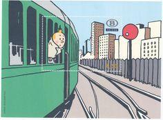 Tintin en América - Tren en Viñeta de Correos de Bélgica 2007