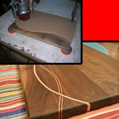 If you have small slabs of walnut wood and you don't know what to do with it, here is a fun project that you'd surely enjoy making. A unique chopping board is not that easy to find in stores and. Woodworking Techniques, Woodworking Shop, Woodworking Plans, Woodworking Projects, Diy Cutting Board, Wood Cutting Boards, Wood Slab, Walnut Wood, Rustic Crafts