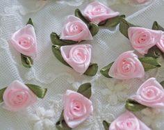 Hydrangea Blossoms-Handmade satin sew on flower appliques 10