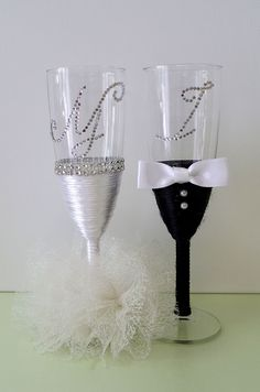 Wedding Champagne Glasses/Bridal/Wedding Decor/Centerpiece/For the Groom/Wedding Favors/Wedding Decoration/Bride/Groom/Set of 2 glasses Wedding Wine Glasses, Wedding Champagne Flutes, Champagne Glasses, Wedding Cake Knife And Server Set, Painted Wine Glasses, Wine Bottle Crafts, Wedding Decorations, Homemade, Gifts