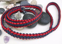 Navy Blue and Red Paracord Dog Leash