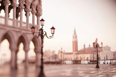 Pink // Early Morning in Piazza San Marco, Venice, Italy Photograph, Wall Decor