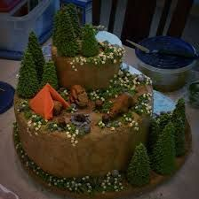 """great outdoors cake - This was my entry for a local cake decorating competition themed """"the great outdoors."""" All of the figures are fondant and gumpaste, while the details are made from royal icing. Cupcake Gift, Cupcake Cakes, Cupcakes, Cupcake Ideas, Birch Wedding Cakes, Campfire Cake, Camping Cakes, Adult Birthday Cakes, Cake"""