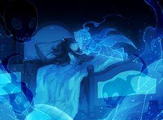 Deep-Sea Prisoner/#1909014 - Zerochan  Pixiv Id 4154796, GriRea, Death Pater, Blue, Indoors, Ghost