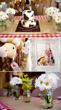 Baby's cowboy party. I love everything about this with blue gingham. The mason jars, the daisies, the stick horses for part favors! All of it!