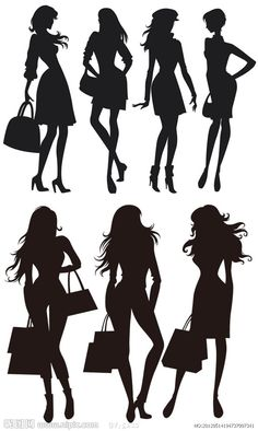 Siluetas femeninas Fashion Silhouette, Silhouette Portrait, Woman Silhouette, Silhouette Files, Silhouette Design, Stencil Vinyl, Stencils, Wall Stickers Unique, Outline Art