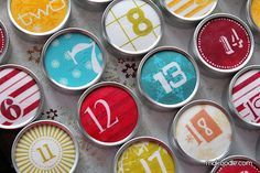 Using tins purchased at a craft store for small advent gifts - Fun!