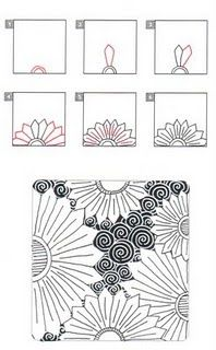Zentangle 1: 8-Dot Center Piece          Zentangle 2: Blooming Lace       Zentangle 3: Lotus      Zentangle 4: Meer                    ...