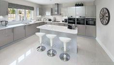 White Kitchen with Bamboo White Bar Stools
